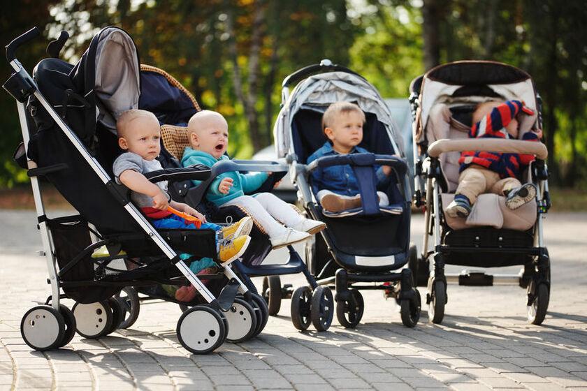 Dzieci siedzą w wózkach spacerowych