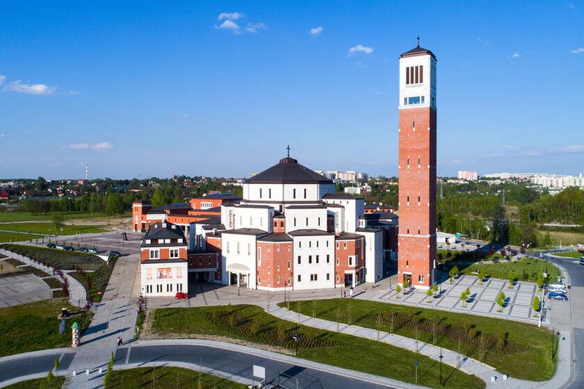 Sanktuarium Jana Pawła II w Krakowie z lotu ptaka