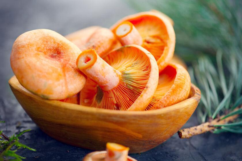 Rydze w drewnianej miseczce