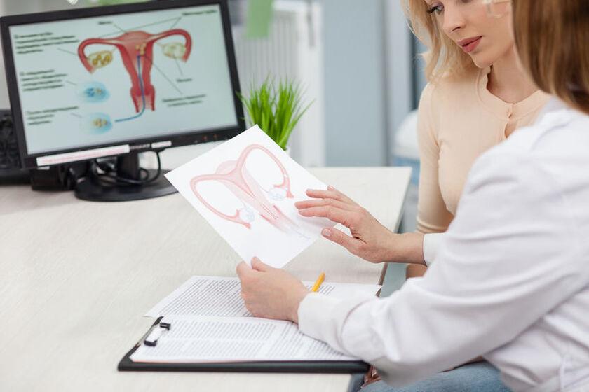 Kobieta na konsultacjach ginekologicznych